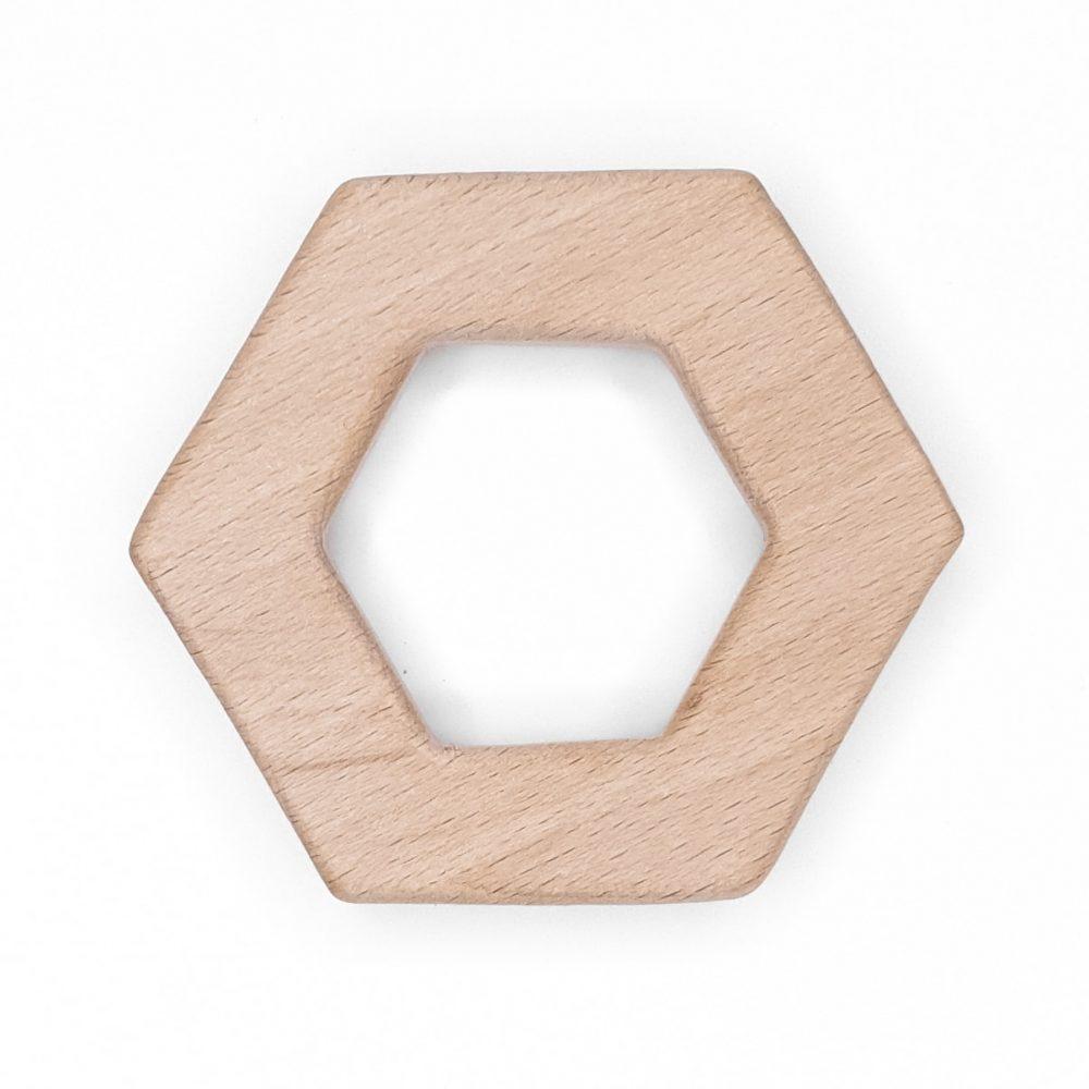 Houten bijtring hexagon beukenhout kind veilig