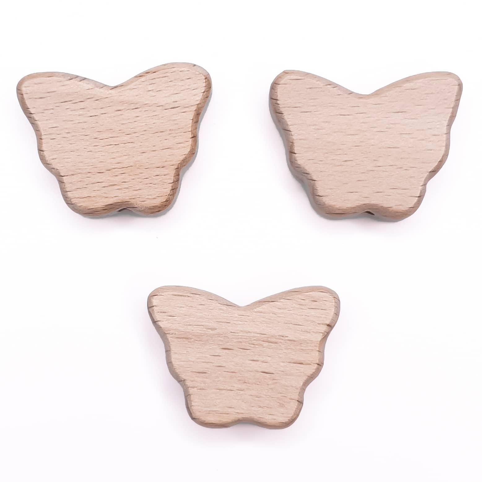 Houten kraal vlinder vorm beuken hout baby veilig