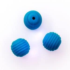 Siliconen kraal bpa vrij Honingraat 16 mm deep sky blue