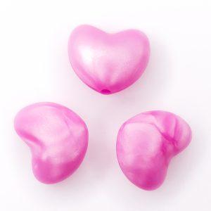 Siliconen kraal hart bpa vrij metallic magenta