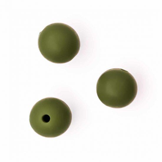 Siliconen kralen 12 mm bpa vrij baby veilig speenkoord mos groen
