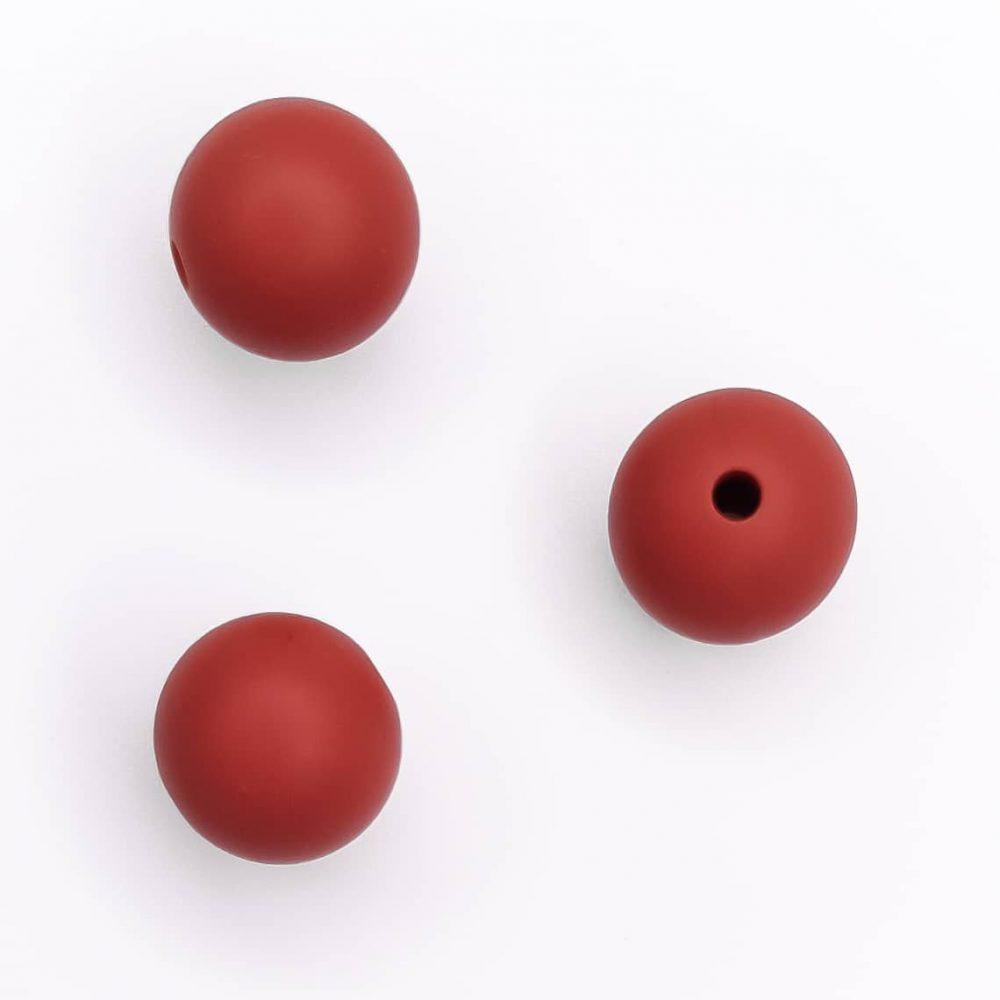 Siliconen kralen 12 mm bpa vrij baby veilig speenkoord roest rood