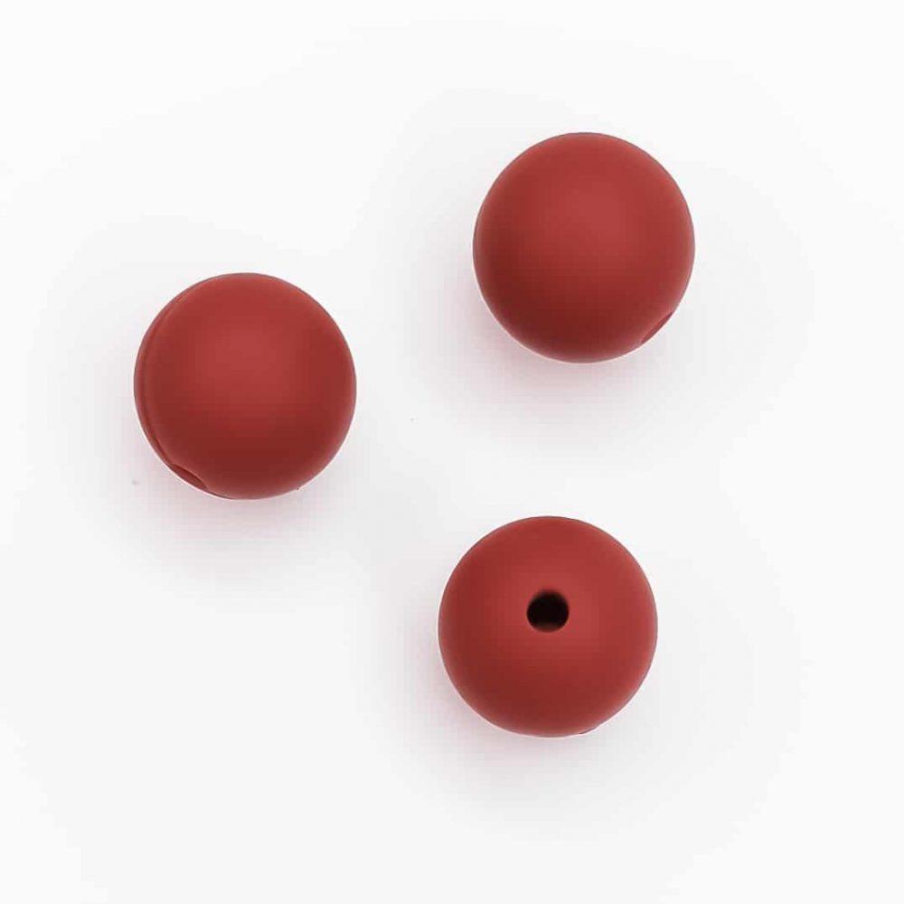 Siliconen kralen 12 mm bpa vrij baby veilig wagenspanner roest rood