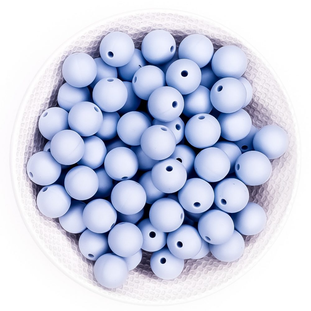 Siliconen kralen 12 mm licht poeder blauw bpa vrij groothandel