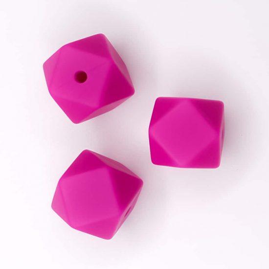 Siliconen kralen hexagon magenta bpa vrij kind veilig