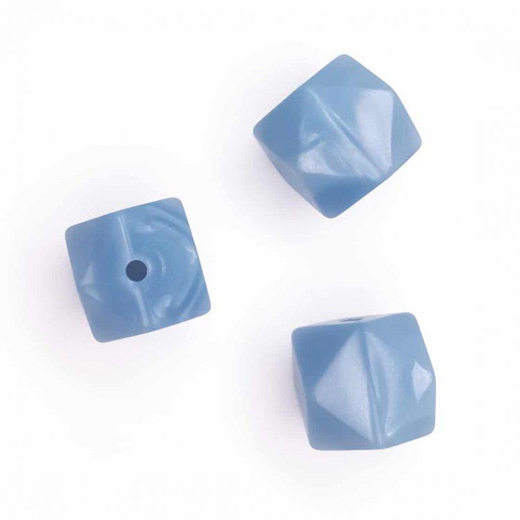 Siliconen kralen metallic staal blauw hexagon groothandel