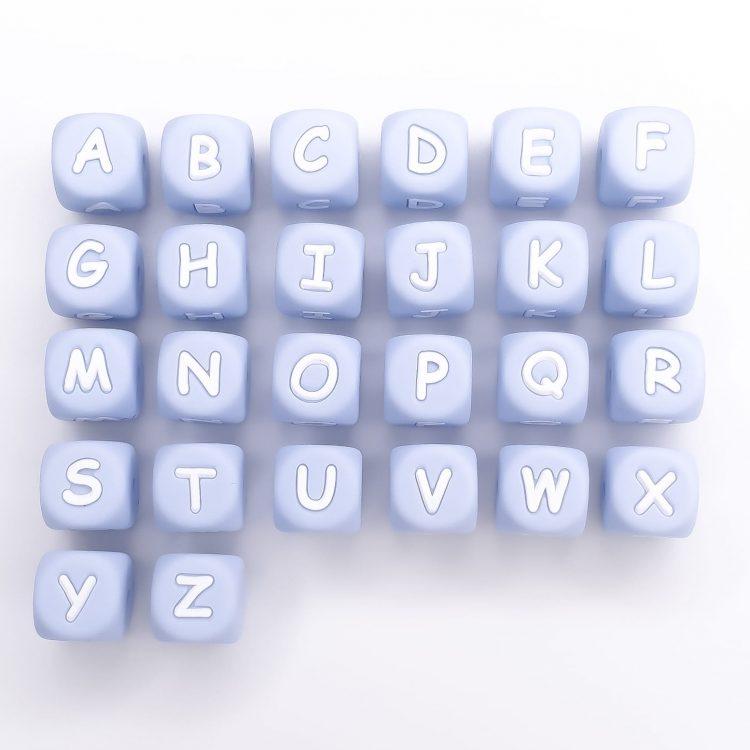 Siliconen letterkralen blauw licht poeder bpa vrij