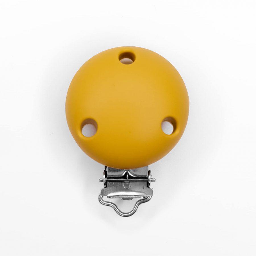 Siliconen speenclip bpa vrij oker geel baby veilig met gaatjes