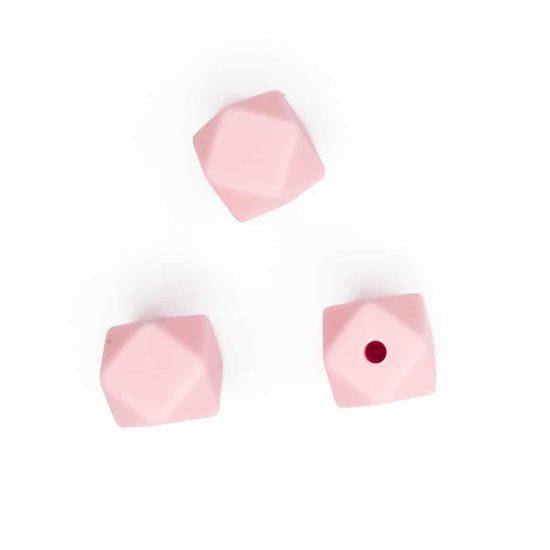 siliconen kralen hexagon 11 mm bpa vrij groothandel perzik roze