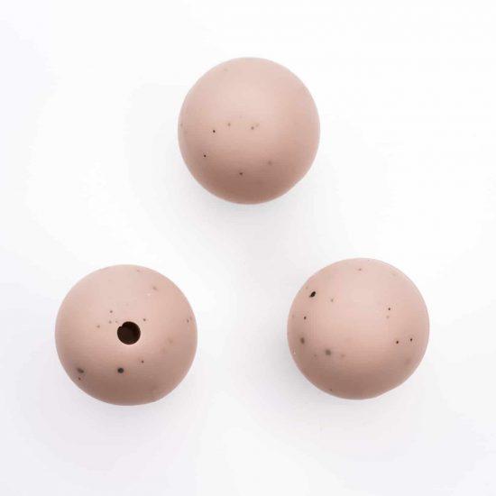 Siliconen kralen 16 mm rond champignon met spikkels bpa vrij