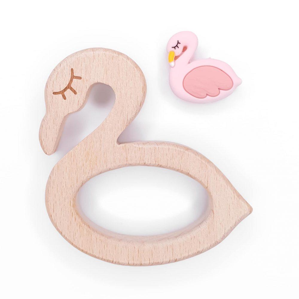 Houten bijtfiguur flamingo met kraal baby veilig