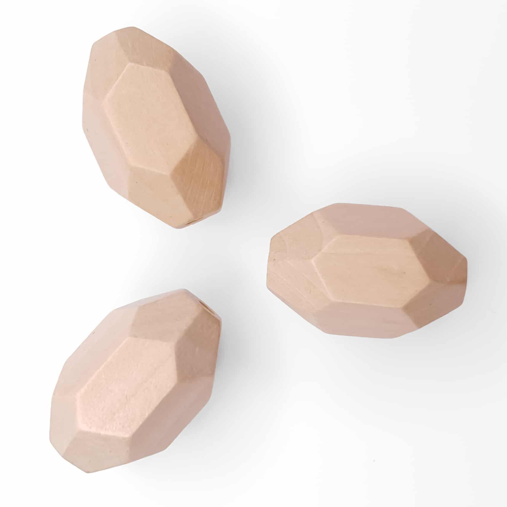 Houten kraal rotsblok 30 x 20 mm baby veilig bijtring