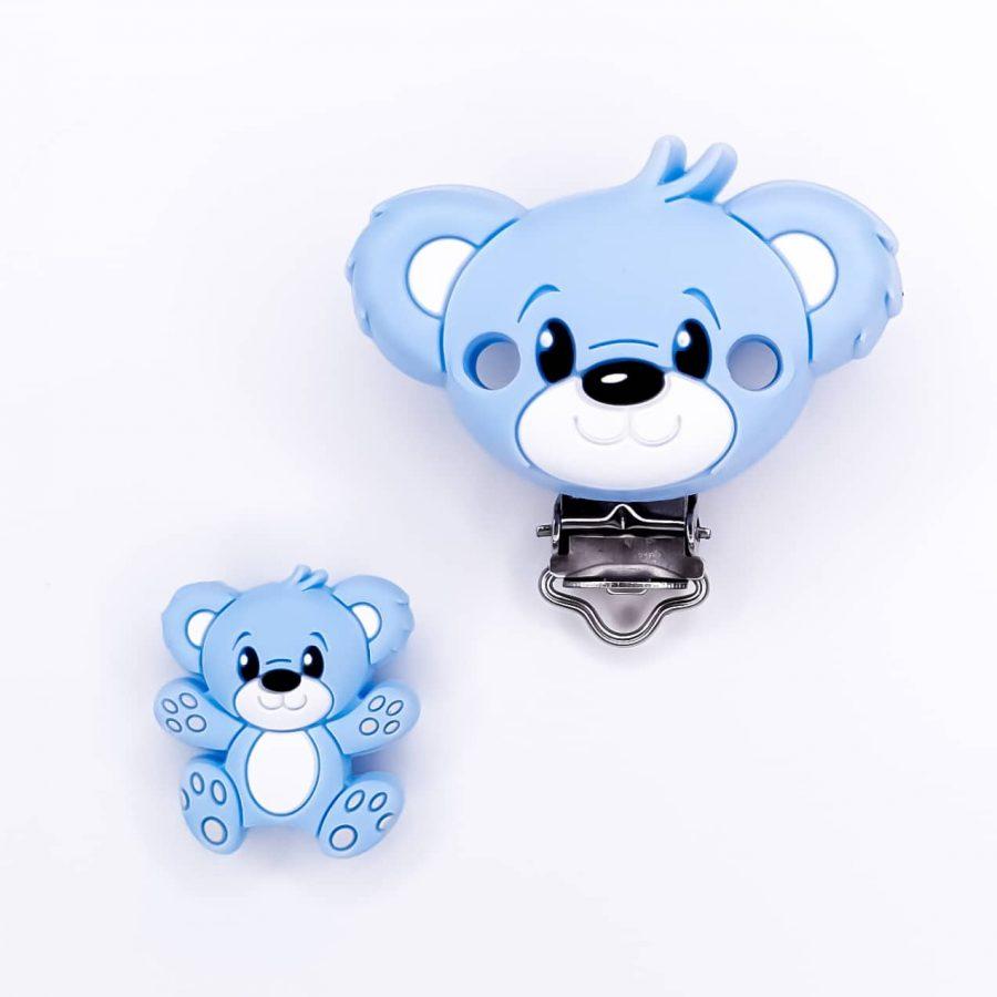 Siliconen kraal en clip beer blauw baby veilig speenkoord