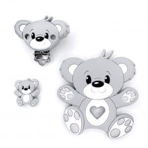 baby veilig speenkoord set beer licht grijs bpa vrij