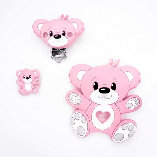 Siliconen kraal beer set roze bpa vrij ce gecertificeerd