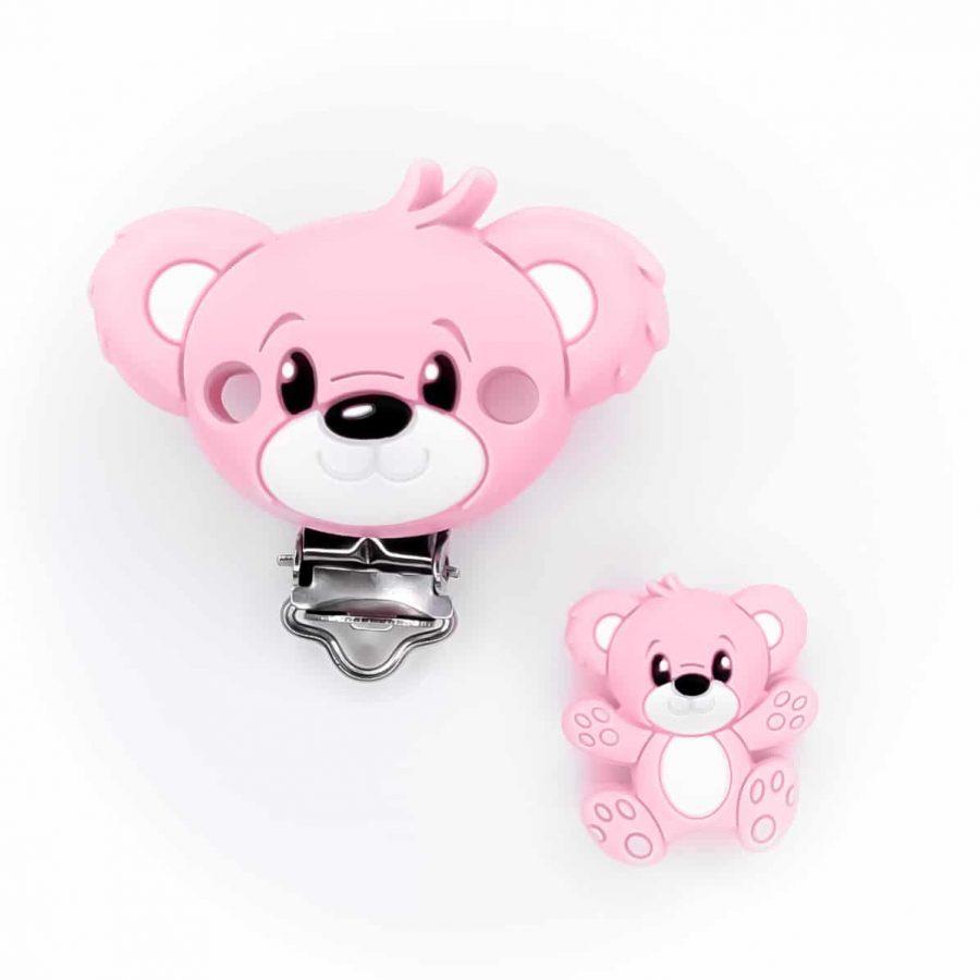 EN71 bpa vrij ce gecertificeerd siliconen beer roze en speenclip