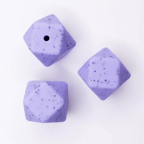 Siliconen kralen hexagon 17 mm blue berry met spikkels bpa vrij