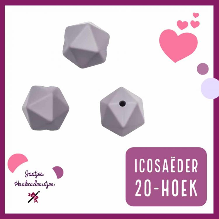 Siliconen kralen - Icosaëder / 20-hoek - 14 mm - 17 mm