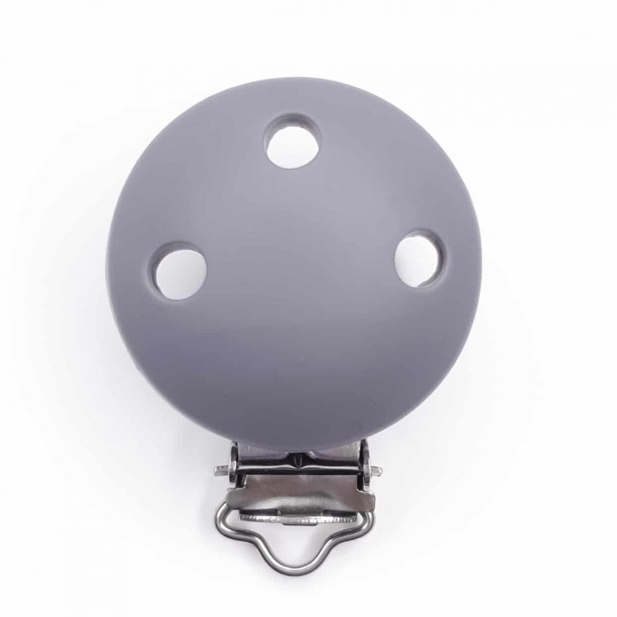 Siliconen speenclip bpa vrij fonkrt grijs baby veilig met gaatjes