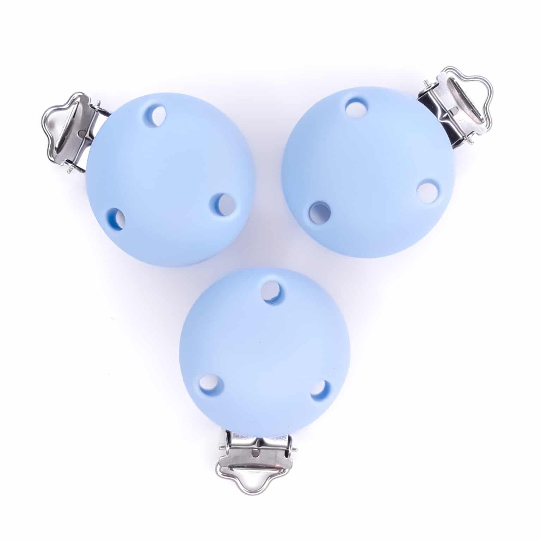 Siliconen speenclips poeder licht blauw bpa vrij groothandel baby veilig