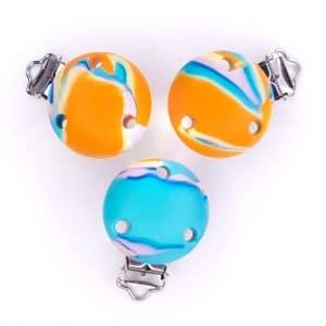 Siliconen speenclips toverbal marmer regenboog blauw oranje paars baby veilig bpa vrij groothandel