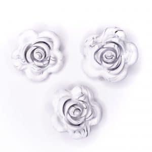 Siliconen roos 40 mm 4 cm bijtfiguur speenkoord bpa vrij baby veilig marmer zwart wit