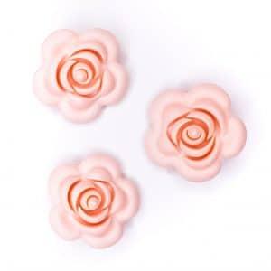 Siliconen roos 40 mm 4 cm bijtfiguur speenkoord bpa vrij baby veilig licht perzik