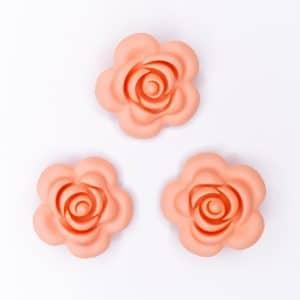Siliconen roos 40 mm 4 cm bijtfiguur speenkoord bpa vrij baby veilig cantaloupe