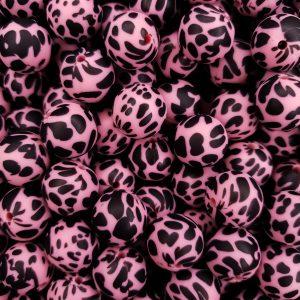 Siliconen kralen koeienvlek dalmatier print framboos roze 15 mm
