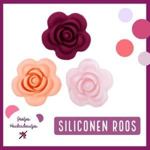 Siliconen kralen - Roos - 40 mm
