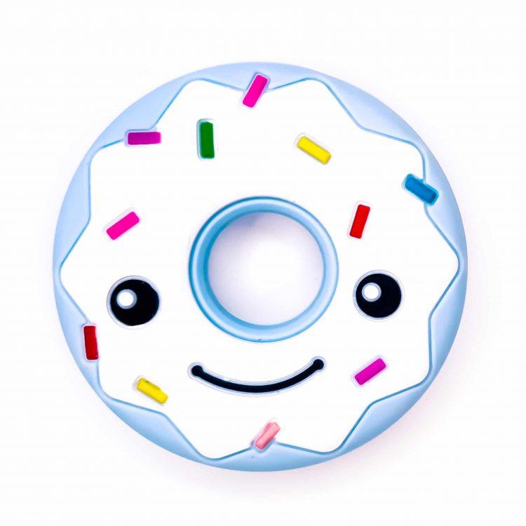 Bijtfiguur siliconen donut bpa vrij baby veilig groothandel licht poeder blauw