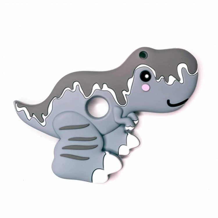 Siliconen bijtfiguur t-rex grijs bpa vrij baby veilig groothandel
