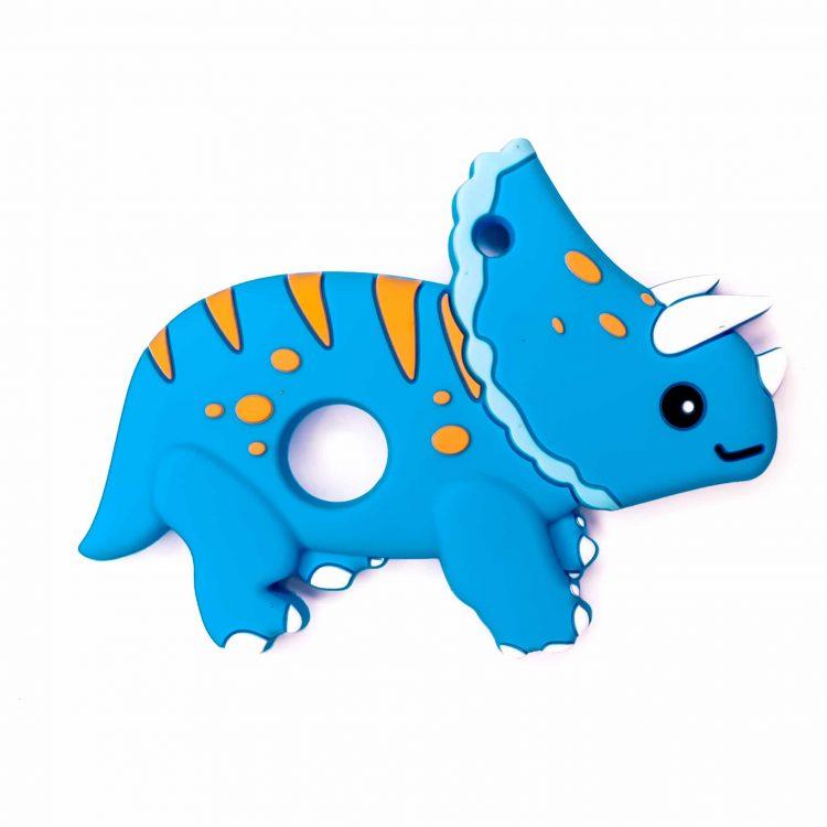 Siliconen bijtfiguur dinosaurus triceratops blauw bpa vrij baby veilig groothandel