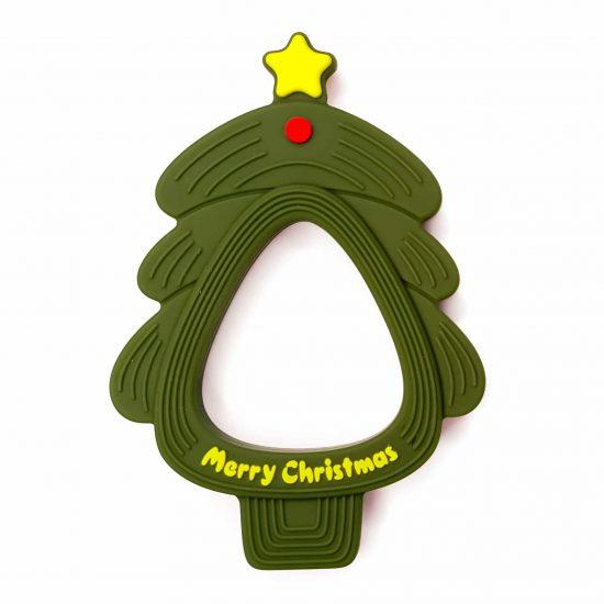 Siliconen bijtfiguur kerstboom mos groen bpa vrij baby veilig groothandel