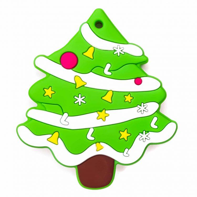 Siliconen bijtfiguur kerstboom knal groen bpa vrij baby veilig groothandel