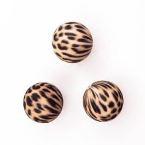 Cheetah dierenprint siliconen kralen 16 mm bpa vrij groothandel