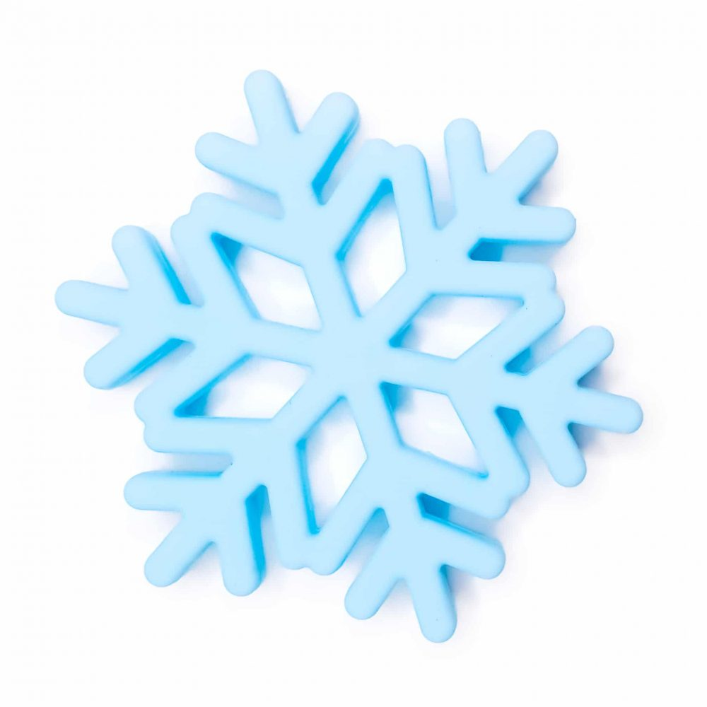 Siliconen bijtspeeltje bijtfiguur sneeuw vlok bpa vrij groothandel ijs blauw