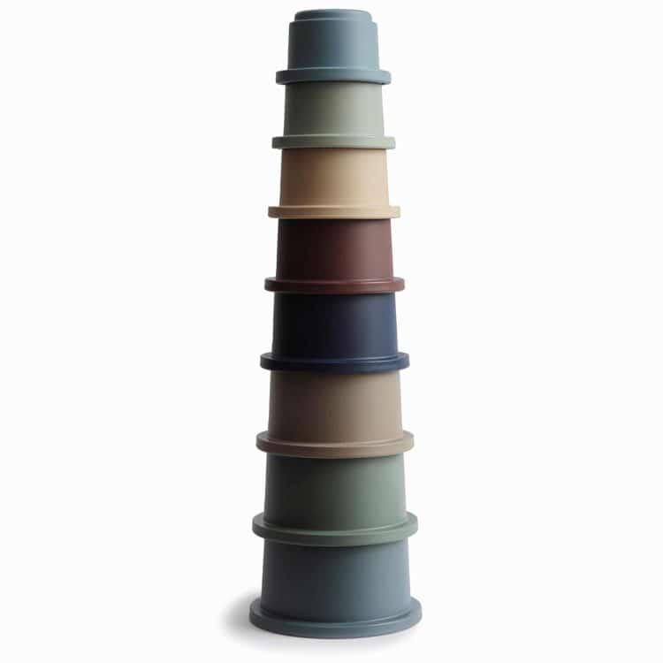 Mushie stapeltoren stacking cups stapel bekers forest bpa vrij ftalaat vrij en pvc vrij