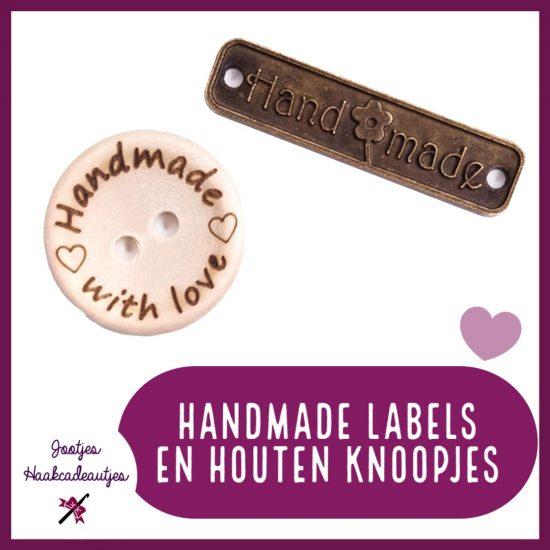Handmade labels en houten knoopjes.