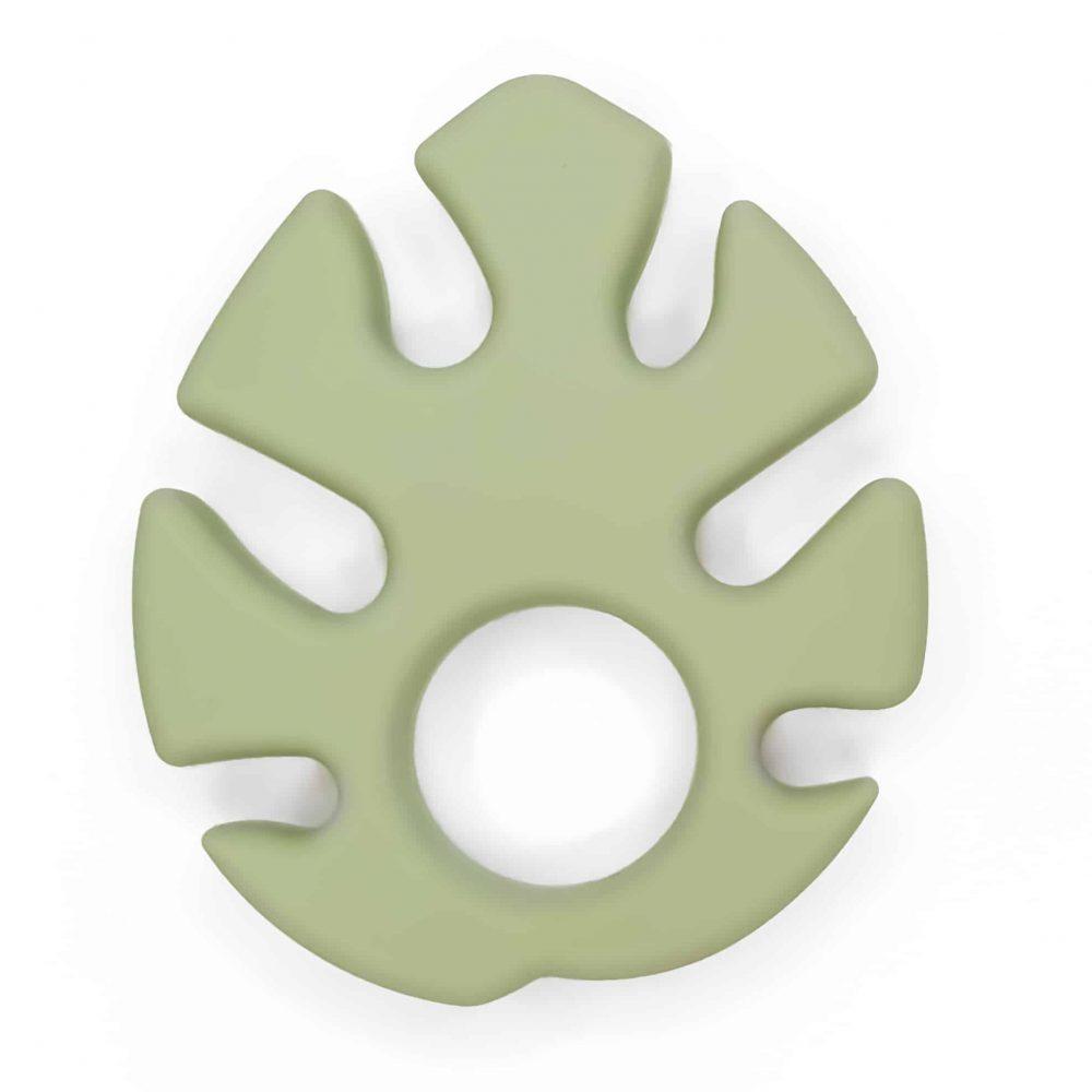 Monstera blad Siliconen bijtspeeltje bijtfiguur bpa vrij groothandel baby pistache groen