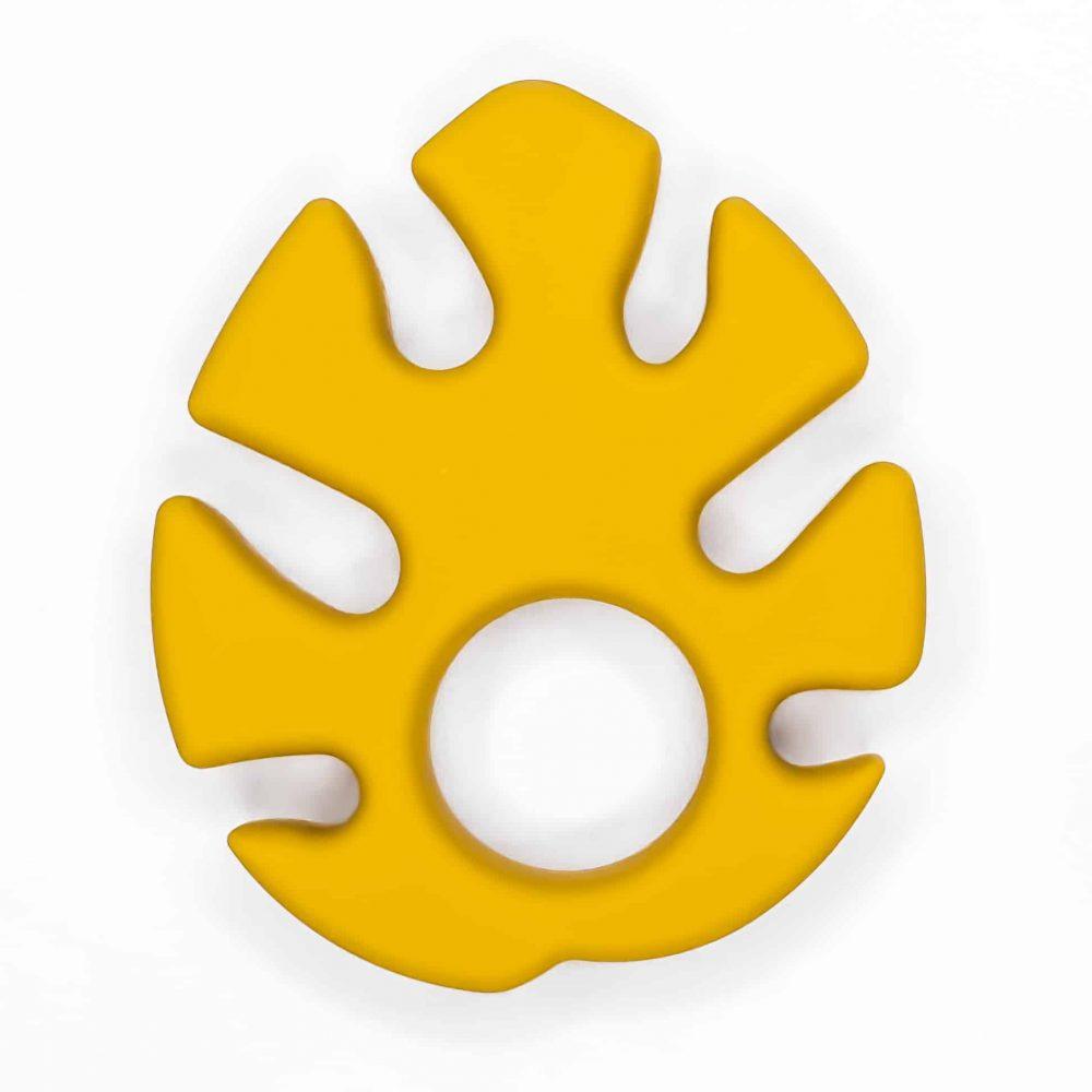 Monstera blad Siliconen bijtspeeltje bijtfiguur bpa vrij groothandel baby oker geel