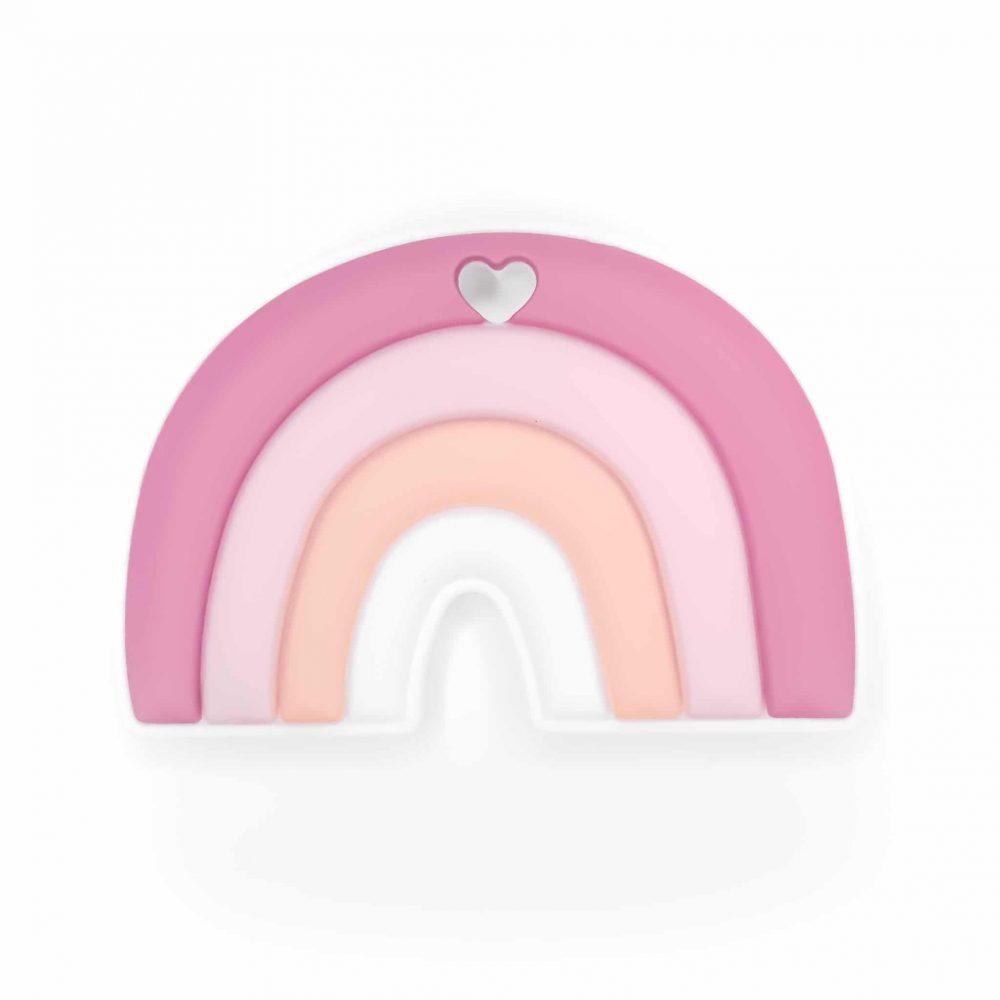 Siliconen bijtring bijtfiguur bijtspeeltje regenboog framboos groothandel bpa vrij baby veilig