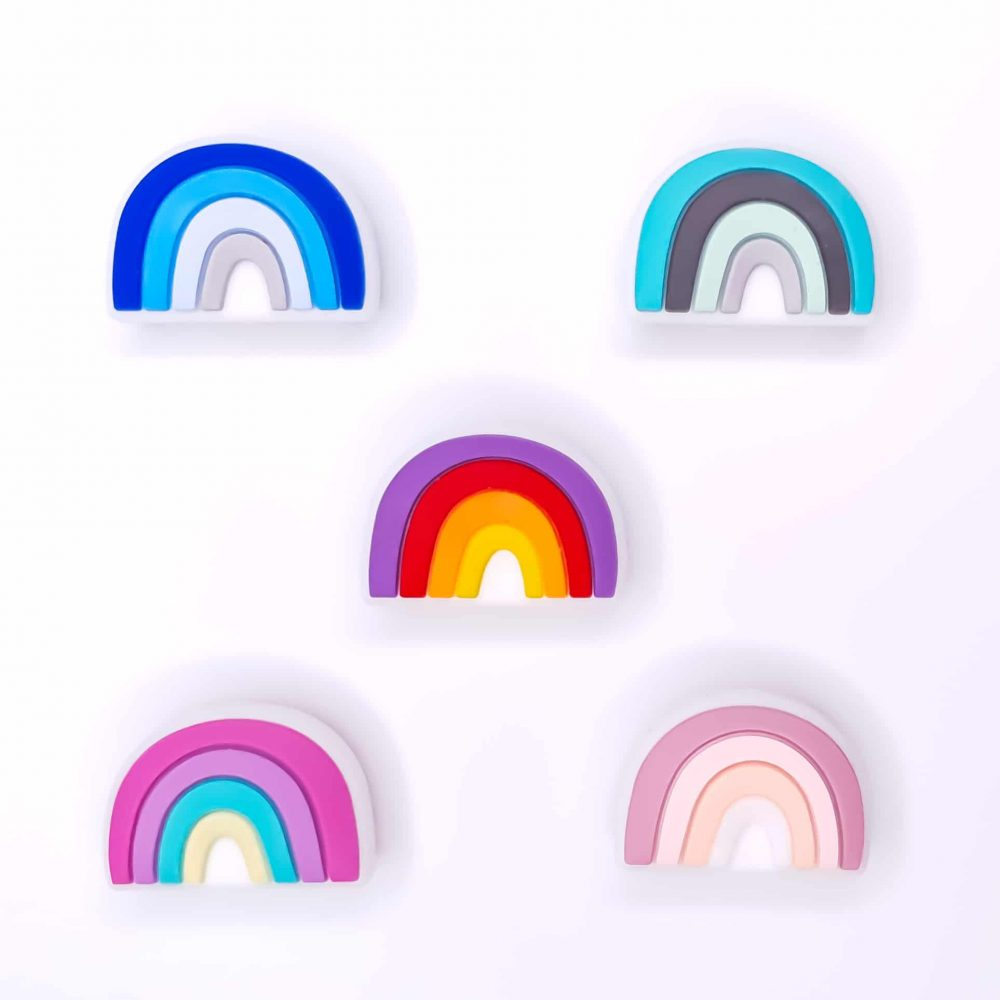 Regenboog kralen over the rainbow groothandel bpa vrij speenkoord bijtring baby veilig
