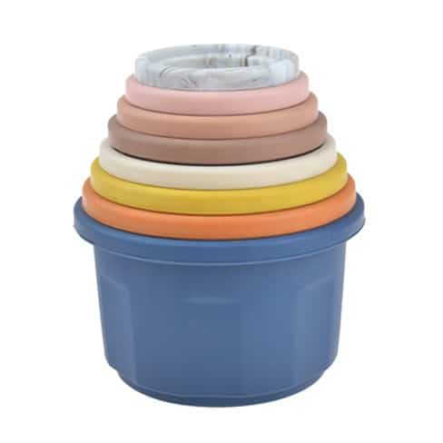 Siliconen stapeltorens stacking cups stapel bekers bpa vrij blueberry cupcake