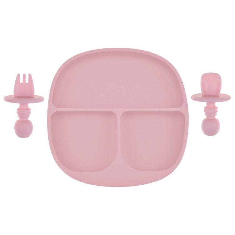 Kinderservies Baby BPA vrij Bord en Bestek Perzik Roze