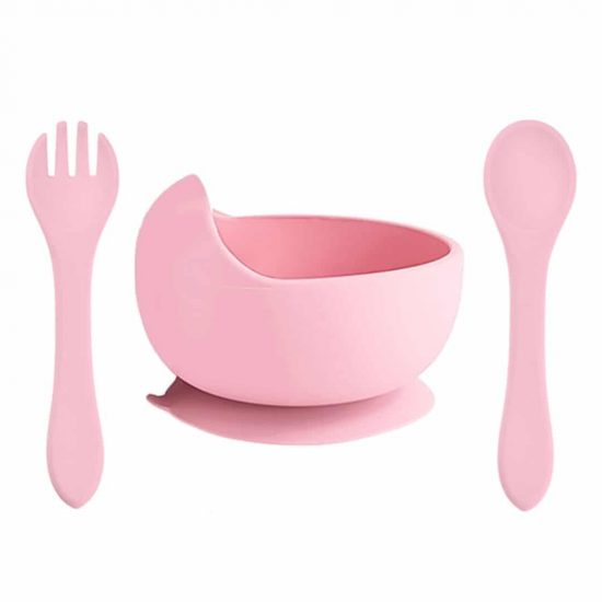 Siliconen kom bestek kinderservies perzik roze bpa vrij