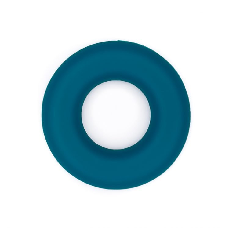 Siliconen ring bijtspeelgoed 43 mm bpa vrij groothandel metallic teal blauw