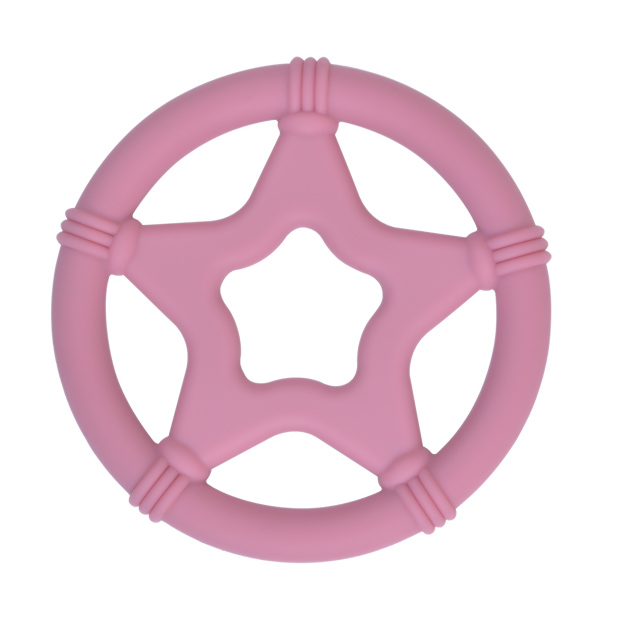 Siliconen bijtspeeltje bijtspeelgoed groothandel bpa vrij twinkle star framboos roze