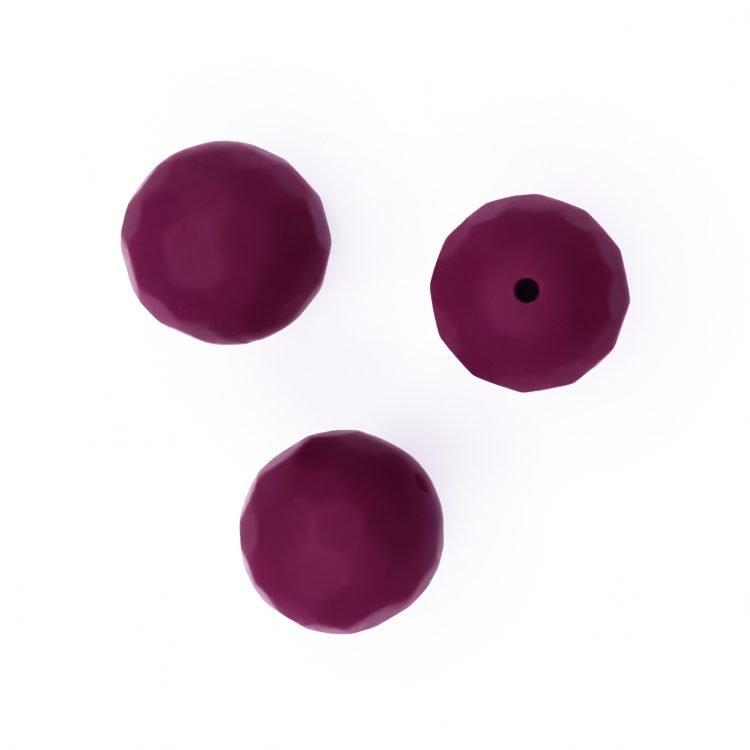 Siliconen kralen facet 16 mm Berry rood