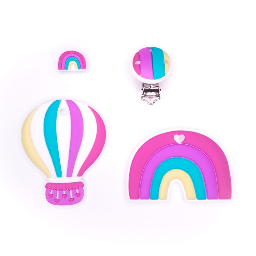 Siliconen bijtfiguur bijtspeelgoed speenkoord luchtballon magenta bpa vrij groothandel regenboog
